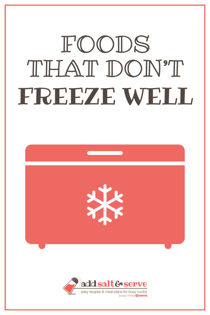 Drawing of a deep freezerwith text foods that don't freeze well