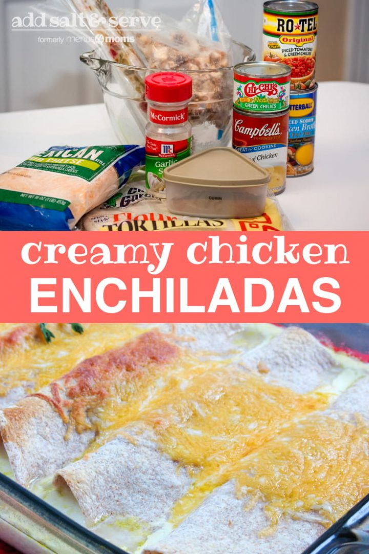 Composite image with ingredients for chicken enchiladas (shredded cheese, tortillas, cumin, cream of chicken soup, chicken broth, garlic salt, cooked chicken, cooked peppers and onions, and rotel) in top image and prepared enchiladas in bottom image with text creamy chicken enchiladas