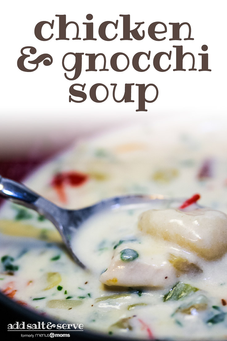 Chicken and gnocchi soup in a soup bowl with a spoon. Text Chicken & Gnocchi Soup - Add Salt & Serve logo