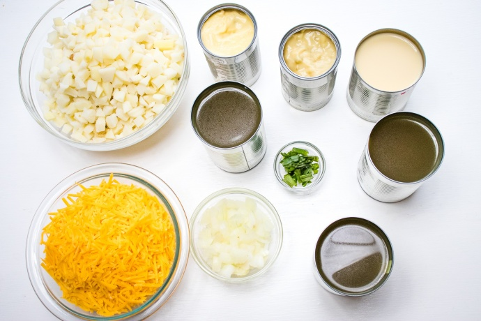 Ingredients for Hash Bown Potato Soup: Hash browns, two cans cream soup, 3 cans, chicken browth, cheddar cheese, evaporated milk, green onions