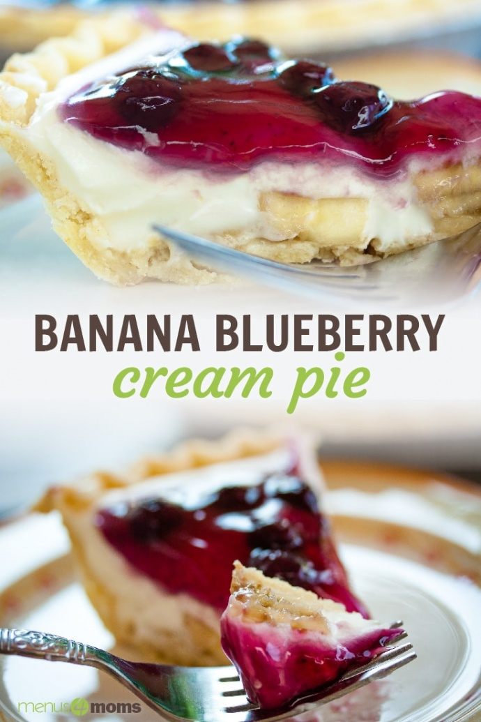 Sideview of a slice of cream pie with blueberry topping on a plate with a bit on a fork and text Banana Blueberry Cream Pie Add Salt & Serve
