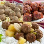 Top left photo is meatballs with egg noodles. Top right photo is meatballs with a red glaze. Bottom photo is meatballs with pineapple chunks and sliced water chestnuts on a bed of rice.