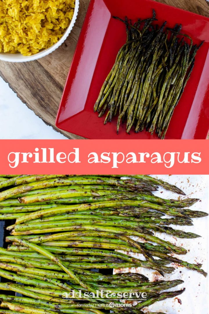 composite image with top image showing grilled asparagus on a red serving plate placed on a wood serving tray with a bowl of yellow rice and a tea towel to the side and bottom image showing asparagus in balsamic vinegar in a marinating container and text grilled asparagus