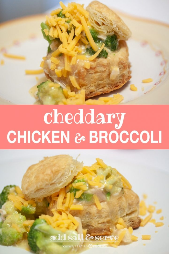 Puff pastry with broccoli, chicken, and shredded cheddar cheese on a white plate; text Cheddary Chicken and Broccoli Add Salt & Serve