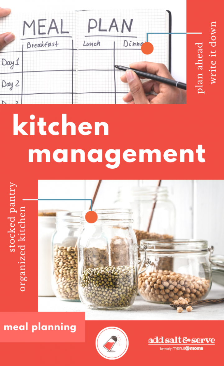 dried foods organized in jars, text kitchen management and meal planning Add Salt & serve salt shaker logo