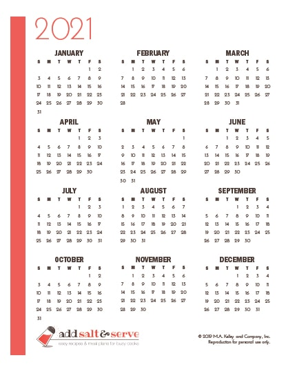 Screenshot of yearly calendar page for 2021