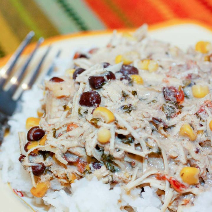 Shredded chicken with corn and black beans in a cream sauce served over rice