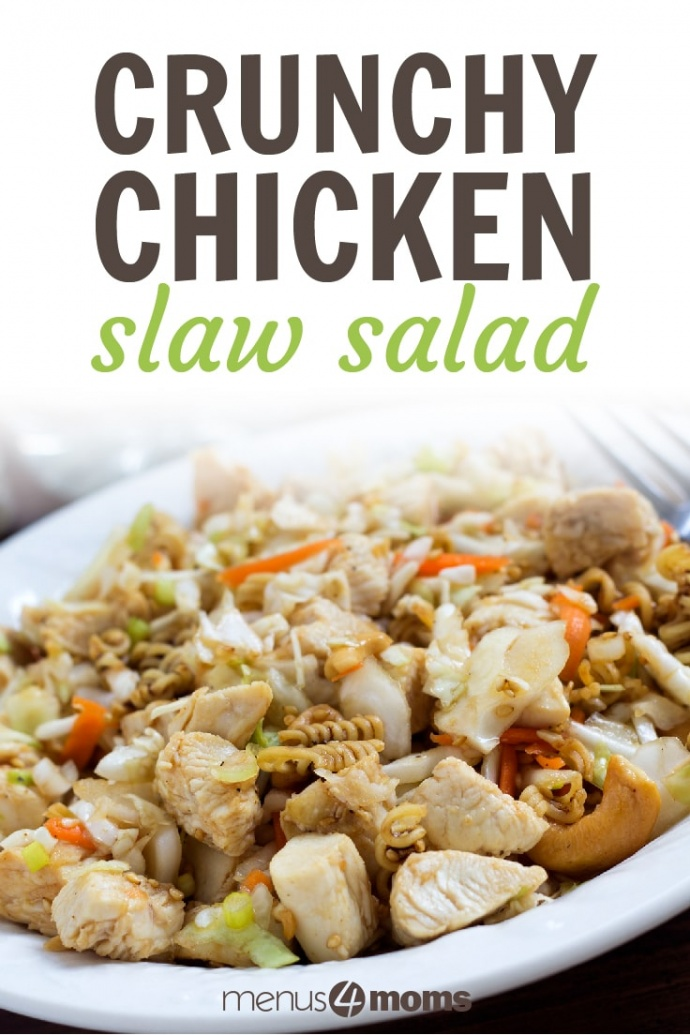 Chopped cooked chicken, ramen noodles, shredded cabbage, and shredded carrots on a white plate with a fork; text Crunchy Chicken Slaw Salad Add Salt & Serve