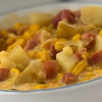 Cheesy Ham and Corn Chowder in a bowl
