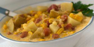 Cheesy Ham and Corn Chowder in a bowl