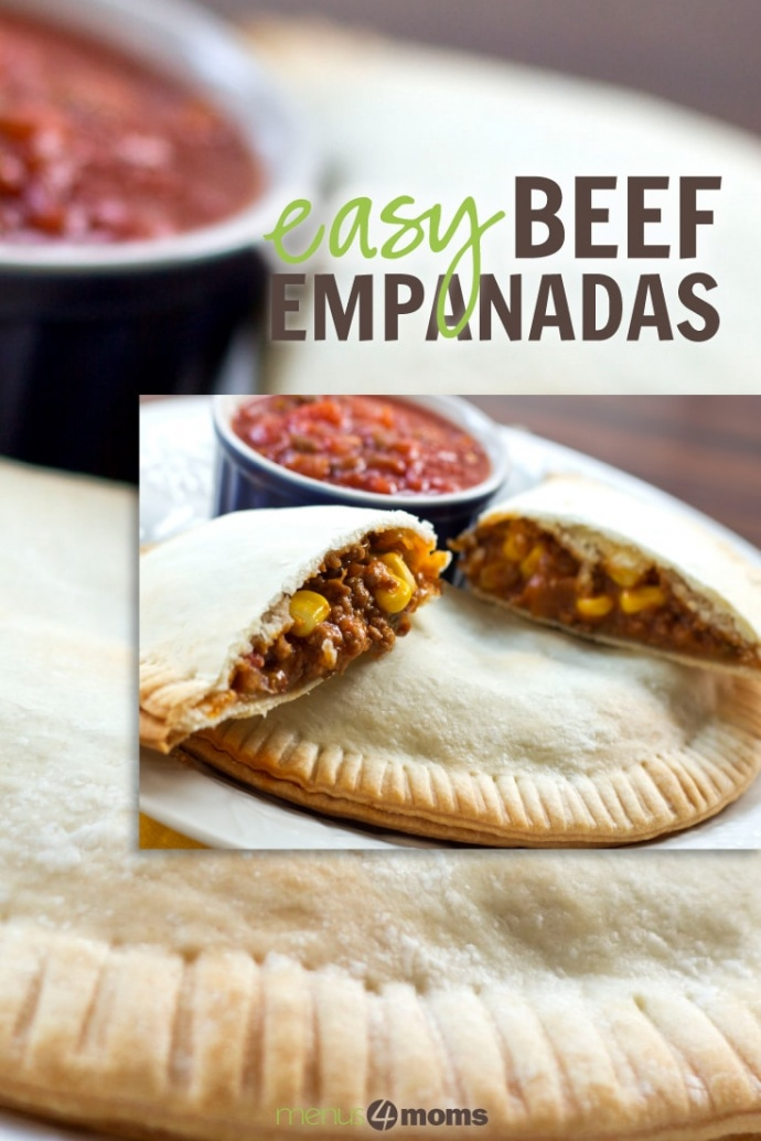 Image of beef and corn filling in a pastry crust with salsa in the background and text Easy Beef Empanadas Add Salt & Serve