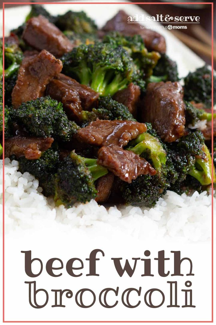 Beef slices with broccoli in a soy-based sauce served over white rice on a white plate with chopsticks to the side and text Beef with Broccoli - Add Salt & Serve