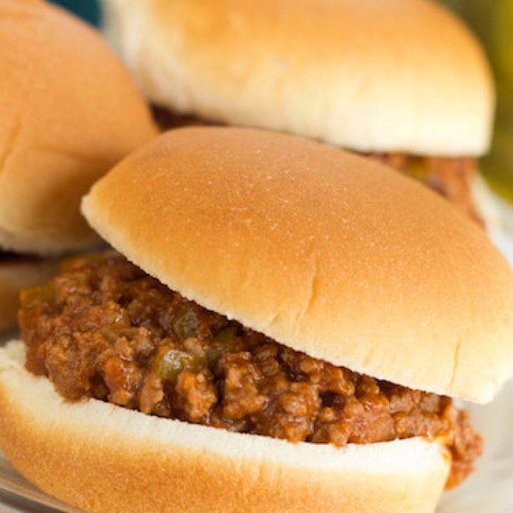 3 sloppy joe sandwiches on hambuger buns