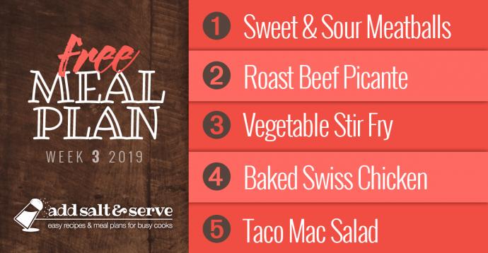 Meal Plan for Week 3 2019: Sweet & Sour Meatballs, Roast Beef Picante, Vegetable Stir Fry, Baked Swiss Chicken, Taco Mac Salad