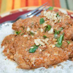 Easy Slow Cooker Thai Chicken in Peanut Sauce