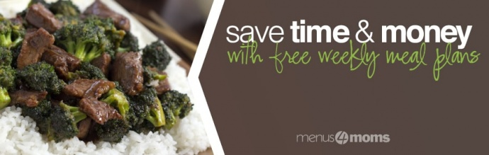 Photo of beef and broccoli over rice with text Save time & money with free weekly meal plans