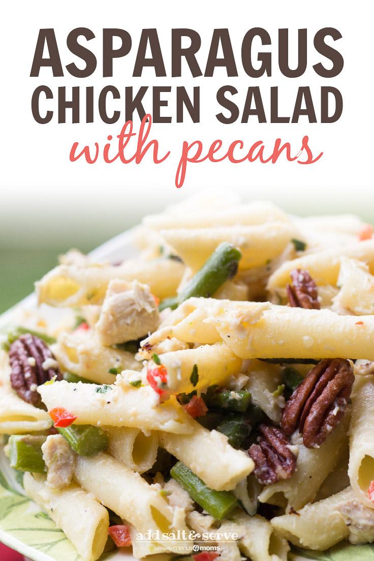 Asparagus Chicken Salad on a green and white plate; text Asparagus Chicken Salad with Pecans - Add Salt & Serve logo
