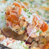 Casserole with pasta, kielbasa, sliced carrots, green onions, and cheese