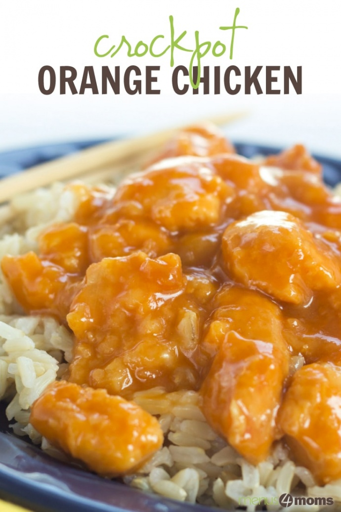 Chicken with orange sauce over rice, chopsticks, and two orange slices on a blue plate; text Crockpot Orange Chicken Add Salt & Serve