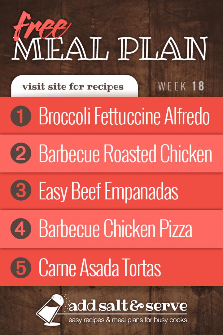 Meal Plan for Week 18 2019: 1-Broccoli Fettuccine Alfredo, 2-Barbecue Roasted Chicken, 3-Easy Beef Empanadas, 4-Barbecue Chicken Pizza, 5-Carne Asada Tortas