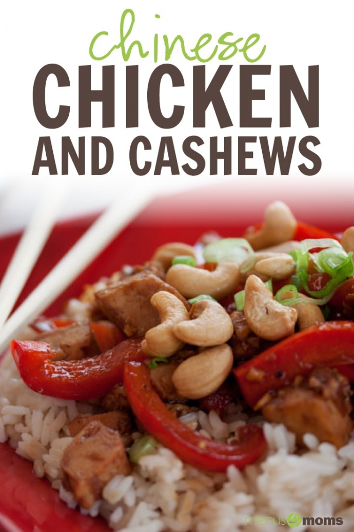 Red plate with chopsticks and rice, sliced red bell peppers, cashews, chicken, and green onions; text Chinese Chicken with Cashews Add Salt & Serve