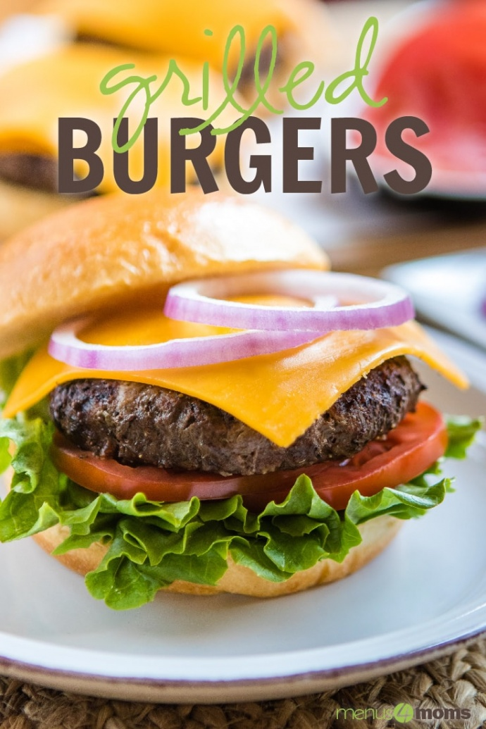 Lettuce, tomato slice, hamburger patty with melted slice of cheddar cheese, and two rings of red onion on a hamburger bun sitting on a white plate; text Grilled Burgers Add Salt & Serve