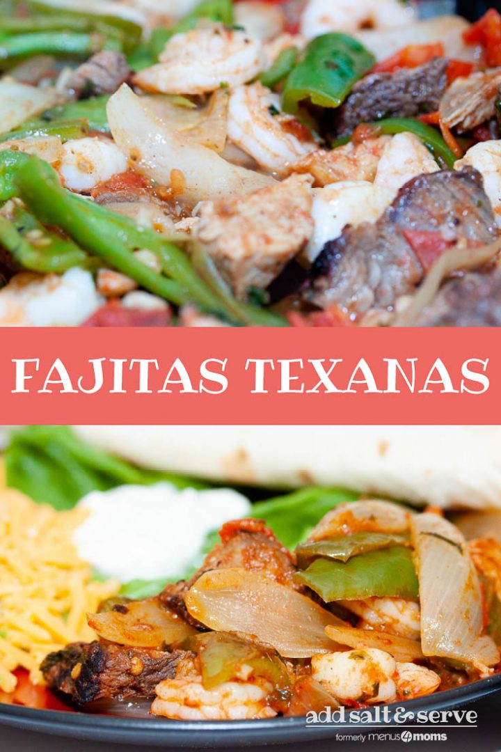 Black and red plate with cooked shrimp, and sliced onions, green bell peppers, and steak, with sliced cheddar cheese, sour cream, and a rolled tortilla; text Fajitas Texanas Add Salt & Serve