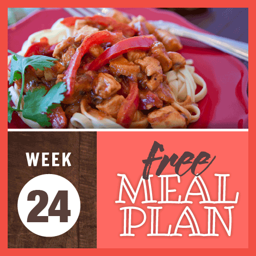 Free Meal Plan Week 24 with image of chicken and red bell peppers in peanut sauce over fettuccine