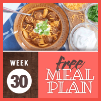 Free Meal Plan Week 30 2019; image of soup with meatballs and shell pasta garnished with sour cream, shredded cheese, and chopped cilantro