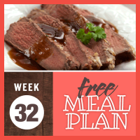 Free Meal Plan for Week 32 2019; image of sliced roast beef with picante sauce drizzled on top and garnished with parsley