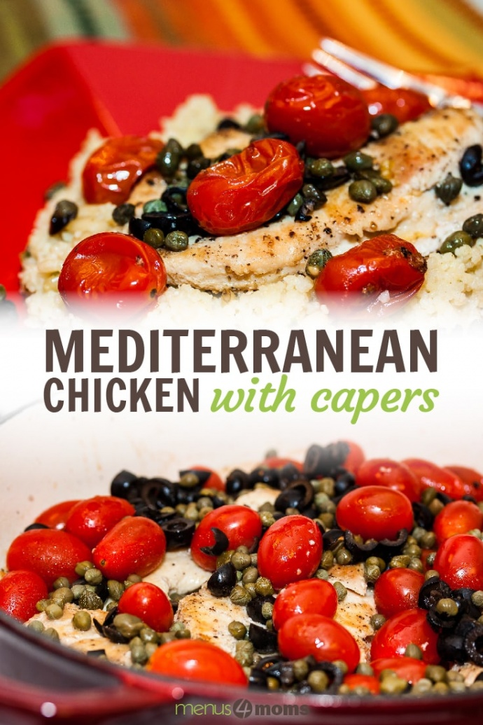 Top image is chicken breast on a bed of couscous topped with capers and cherry tomatoes on a red plate with a fork. Bottom image is chicken breasts, cherry tomatoes, sliced black olives, and capers in a skillet; text Mediterranean Chicken with Capers
