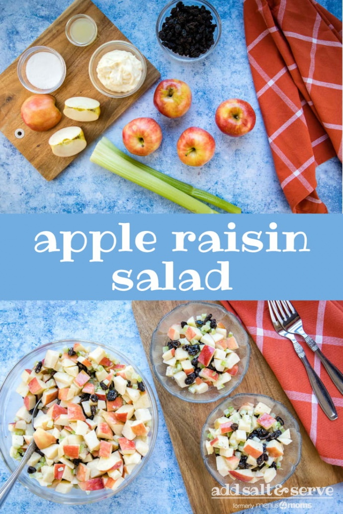 Composite of two images: Overhead view of 4 5 apples (one chopped), two stalks of celery, a bowl of raisins, a bowl with mayonnaise, a small bowl with lemon juice, and a small bowl with sugars all on a blue surface with a coral plaid towel to the side on top, Text Apple Raisin Salad in the middle, and overhead view of salad with chopped apples, raisins, and celery with a coral plaid towel and two forks on bottom
