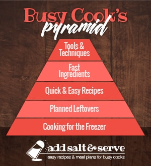 Pyramid graphic titled Busy Cook's Pyramid with levels starting at bottom: Cooking for the Freezer, Planned Leftovers, Quick & Easy Recipes, Fast Ingredients, Tools & Techniques (Add Salt & Serve)