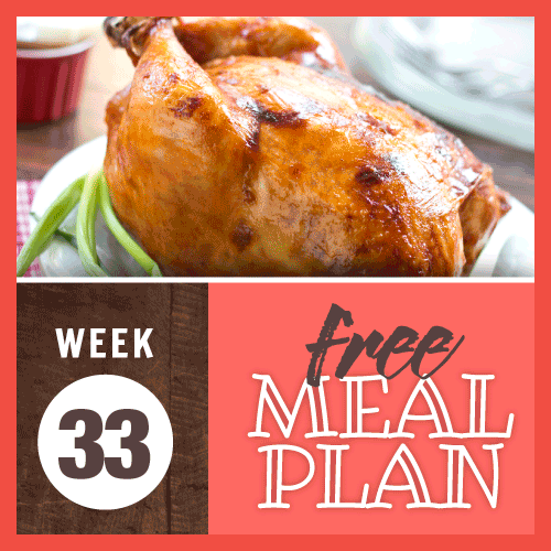Free Meal Plan Week 33 2019; image of whole barbecue roasted chicken garnished with a green onion
