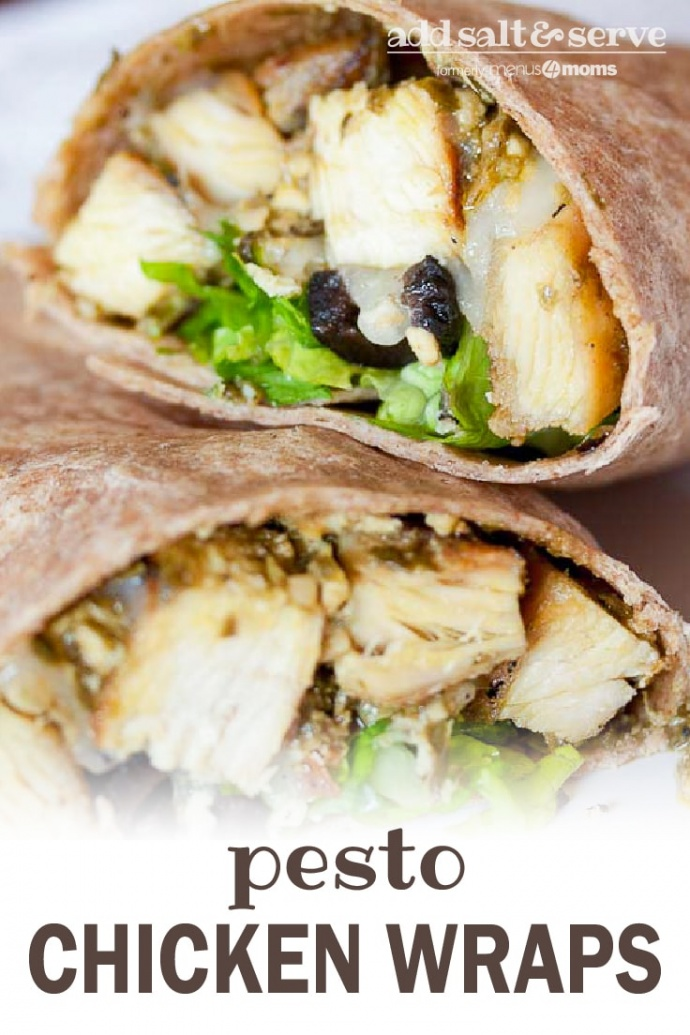Diced chicken, sliced black olives, lettuce, and pesto wrapped in a tortilla. The wrap is on top of another similar wrap on a white plate; text add salt & serve formerly menus4moms pesto chicken wraps