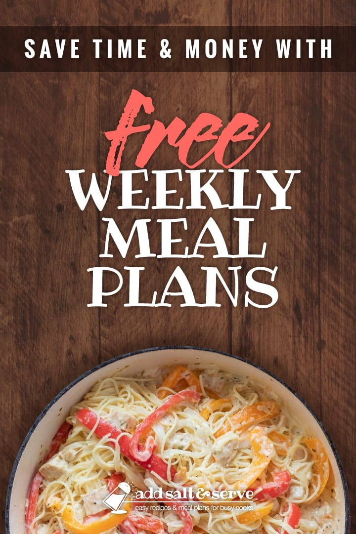 Save Time and Money with free weekly meal plans