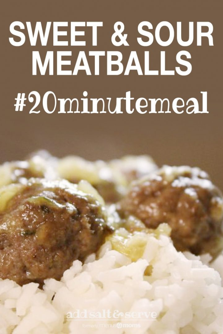 Meatballs with bits of pineapple served over white rice and text Sweet & Sour Meatballs #20minutemeals