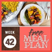 Overhead shot of beef and vegetable kabobs over yellow rice with grilled asparagus and platter of rice and kabobs to the side; text Week 42 Free Meal Plan