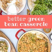 Composite image with top left image showing cream being added to a skilet of sautéed mushrooms with flour, top right image showing blanched green beans being added to the same skillet, and bottom image showing skillet with green bean casserole topped with crunchy fried onions and a plate with a serving of green bean casserole to the side and text Better Green Bean Casserole Add Salt & Serve
