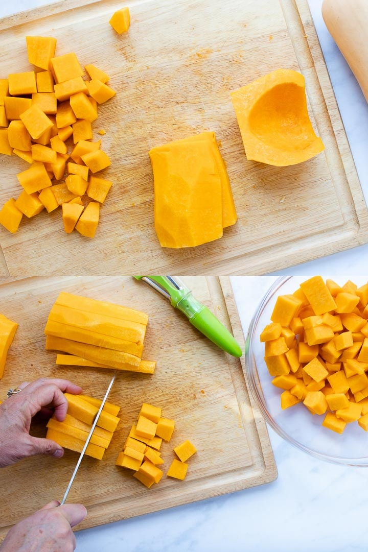 Composite image with top image showing peeled and halved butternut squash on a cutting board with some cubed squash on the board; bottom image shows hands and a knife cutting butternut squash into cubes with a bowl of cubed squash to the side