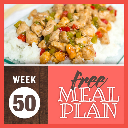 Image with Kung Pao Chicken over rice and text Week 50 Free Meal Plan