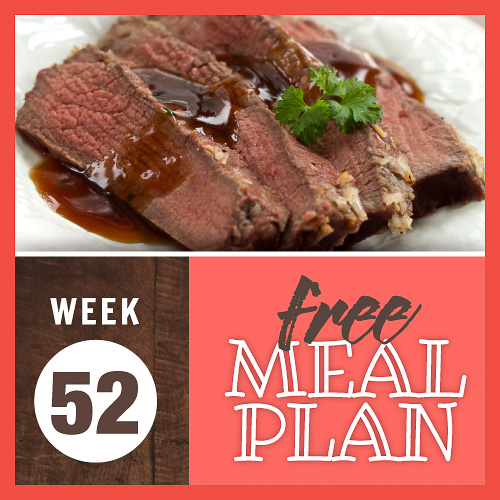 Composite image with photo of sliced roast beef with beef gravy poured over and garnished with parsley and text week 52 free meal plan