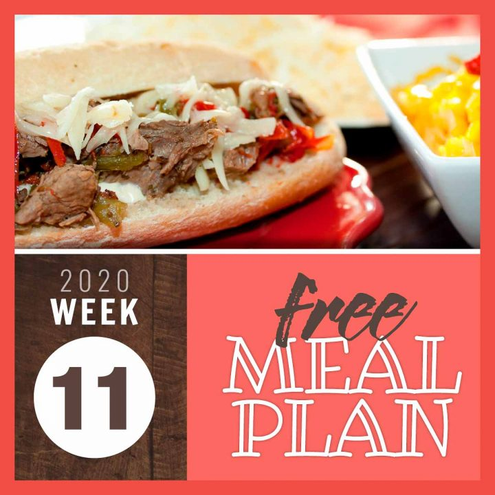 Image of hoagie sandwich with roast beef, sautéed peppers and onions, and shredded pepper jack cheese with text Free meal plan week 11 2020