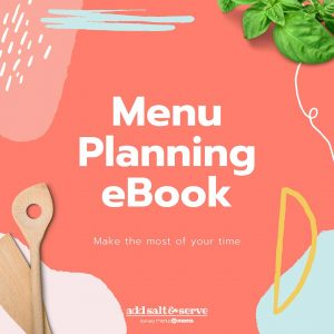 Illustration with coral background and images of basil and wooden spoons with text Menu Planning eBook