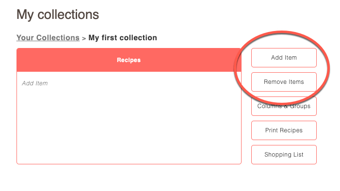 Screenshot of collection interface with Add Item and Remove Item buttons circled