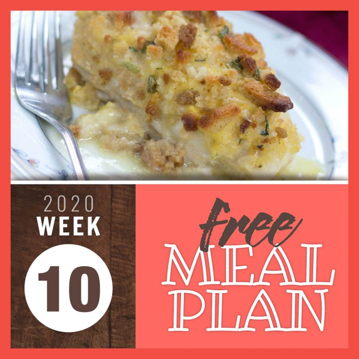Image of baked chicken breast in sauce with a browned stuffing topping and text Free meal plan week 10 2020