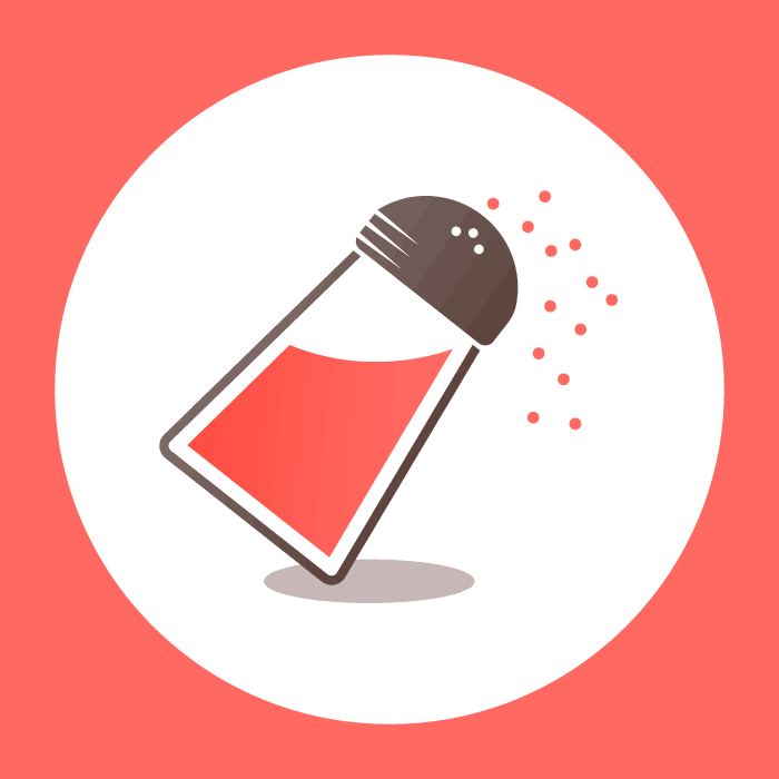 Coral, white, and brown illustration of a tilted salt shaker sprinkling salt