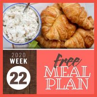 Meal Plan for Week 22 2020: May 25-29
