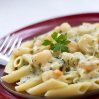 Penne pasta topped with shrimp and a garlic cream sauce on a red plate with a fork.
