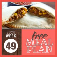 Beef and corn empanadas with text Free meal Plan for Week 49 2020
